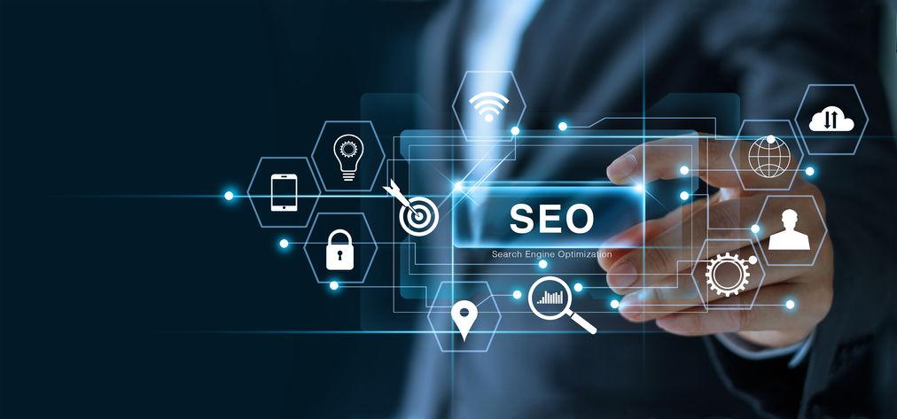 seo search engine optimization marketing concept. businessman ho
